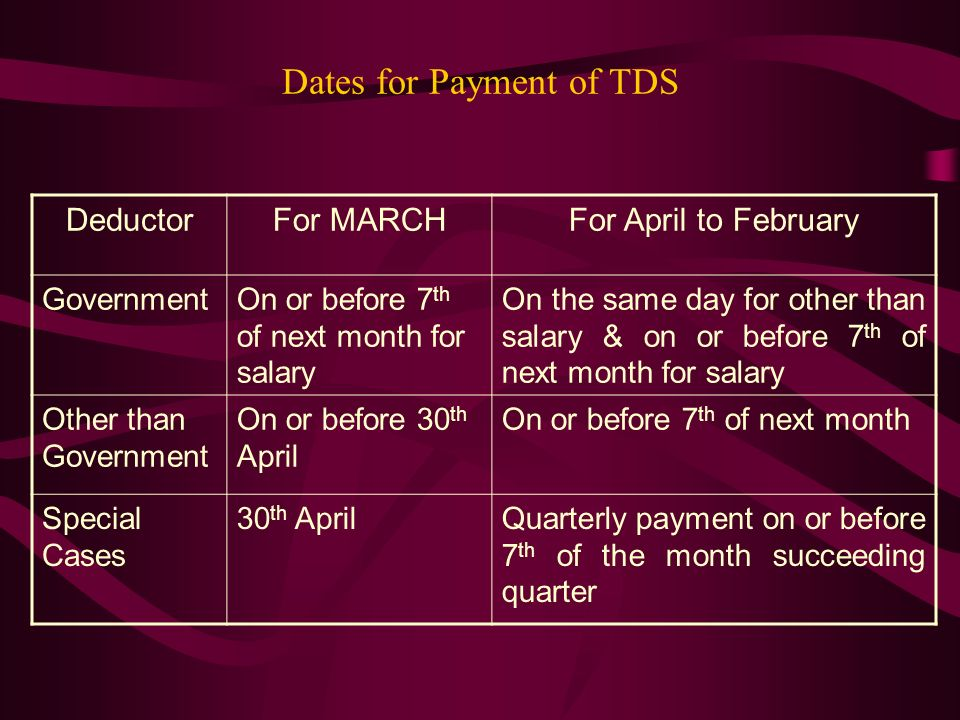 Dates for Payment of TDS
