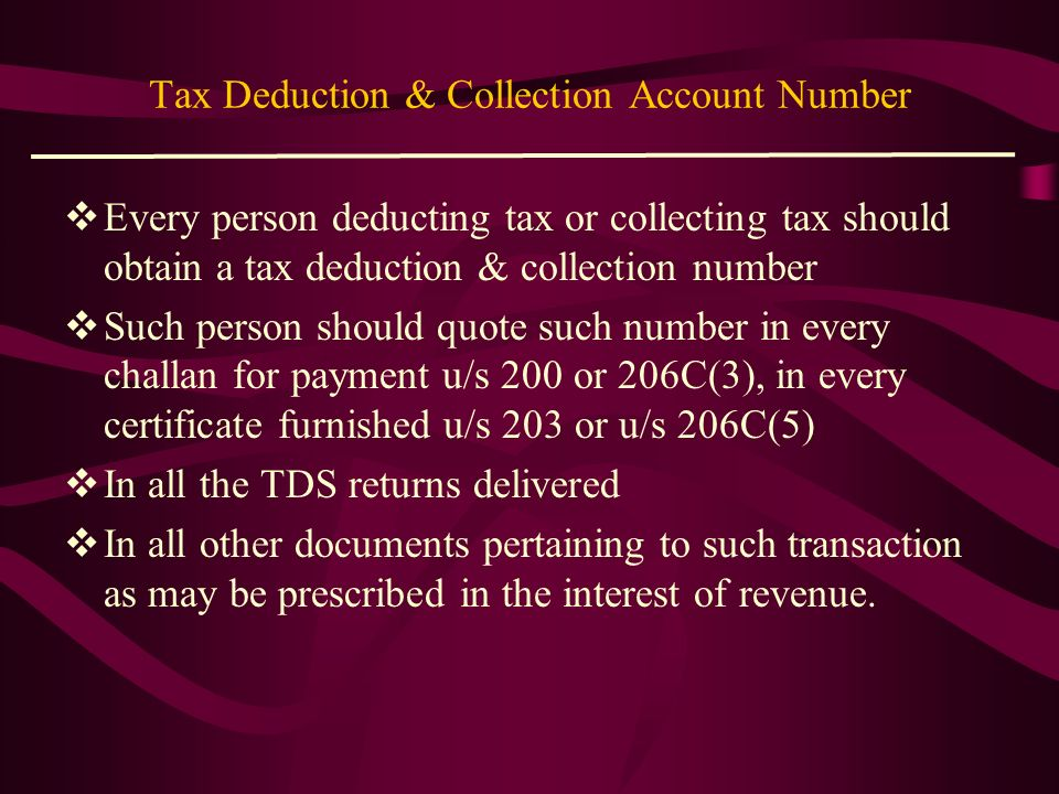Tax Deduction & Collection Account Number