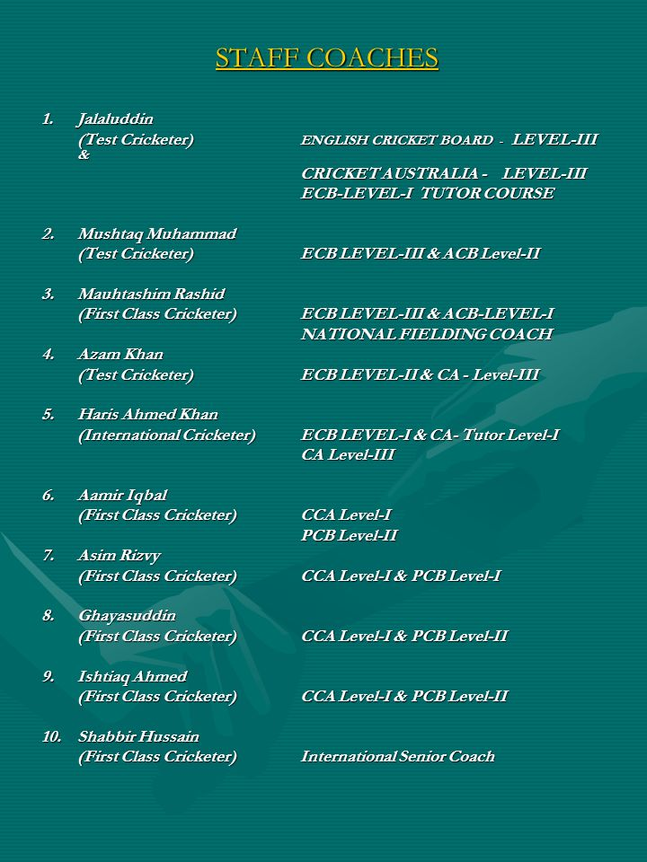 STAFF COACHES 1. Jalaluddin
