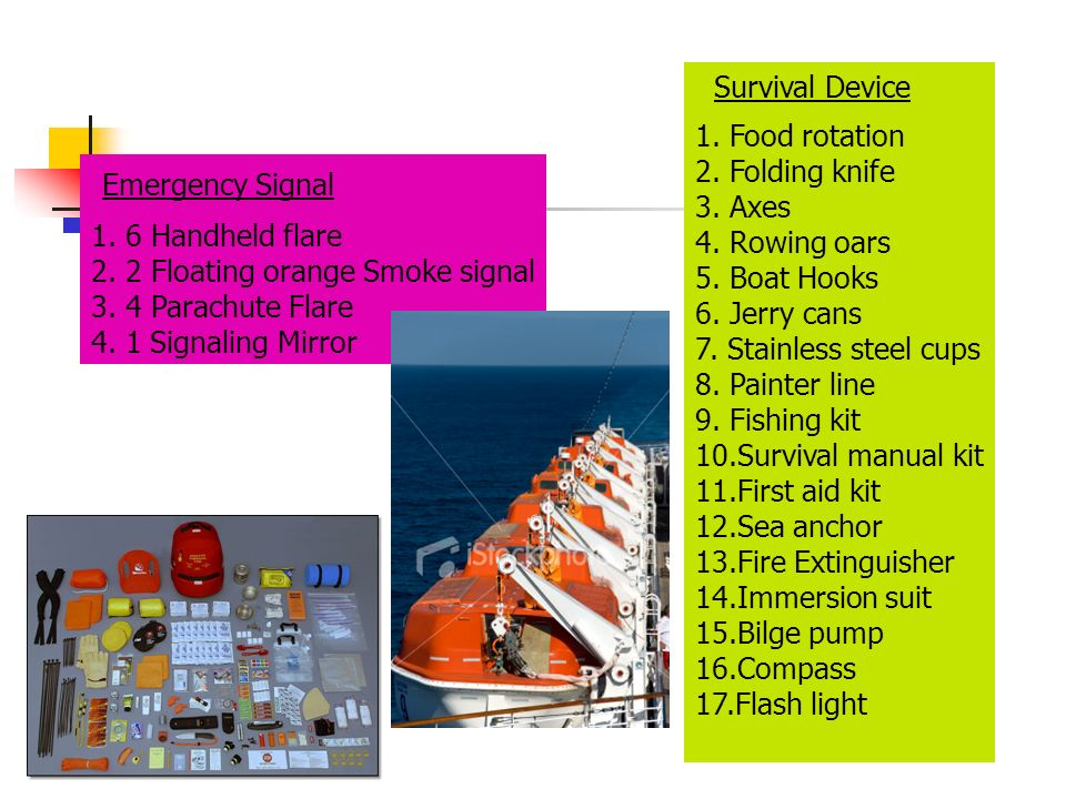 Emergency Signal Survival Device 1. Food rotation 2. Folding knife