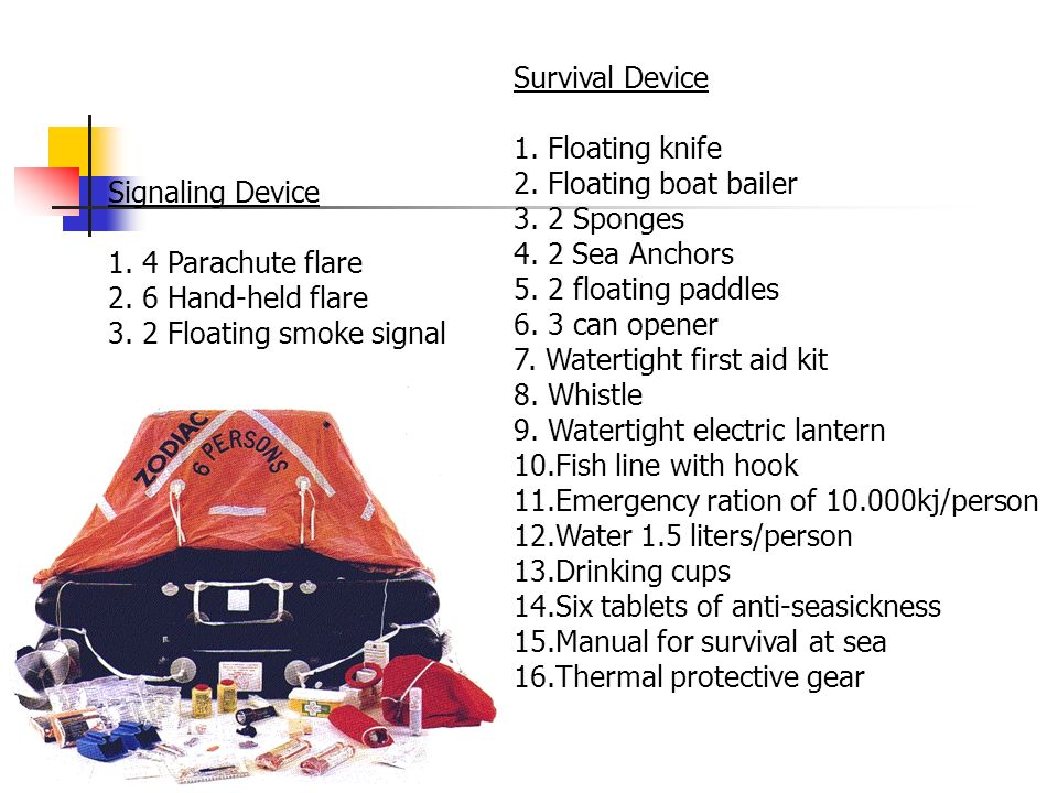 Survival Device 1. Floating knife. 2. Floating boat bailer Sponges Sea Anchors floating paddles.