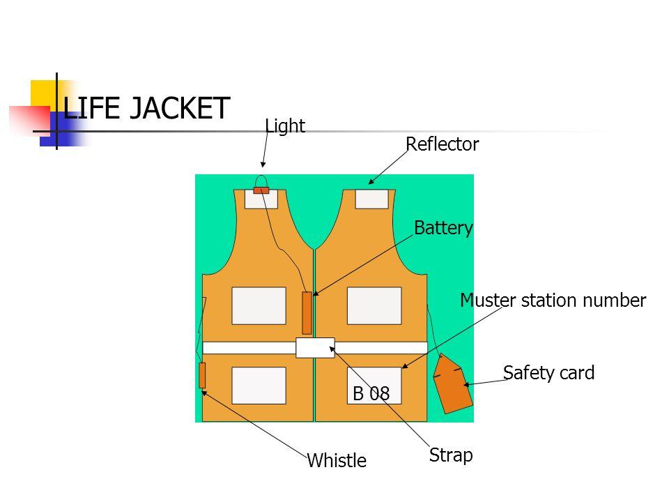 LIFE JACKET Light Reflector Battery Muster station number Safety card