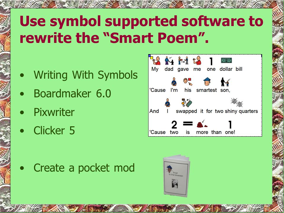 Use symbol supported software to rewrite the Smart Poem .