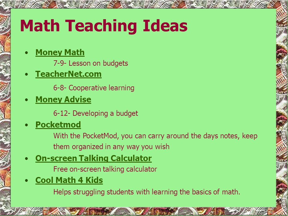 Math Teaching Ideas Money Math TeacherNet.com Money Advise Pocketmod