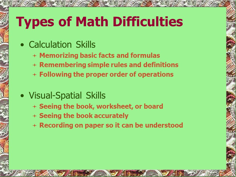 Types of Math Difficulties