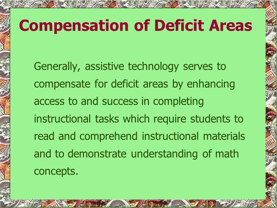 Compensation of Deficit Areas