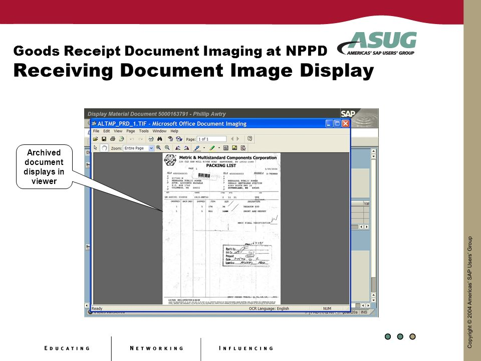 Archived document displays in viewer