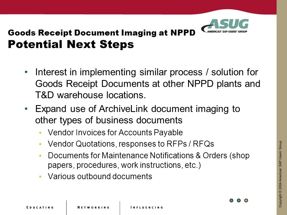 Goods Receipt Document Imaging at NPPD Potential Next Steps