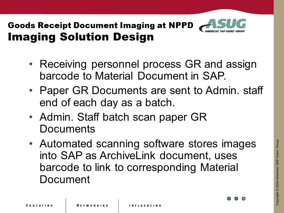 Goods Receipt Document Imaging at NPPD Imaging Solution Design