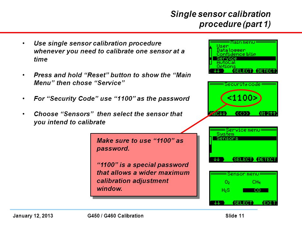 Single sensor calibration procedure (part 1)