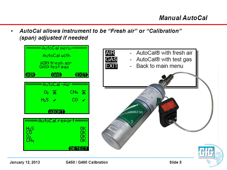 Manual AutoCal AutoCal allows instrument to be Fresh air or Calibration (span) adjusted if needed.