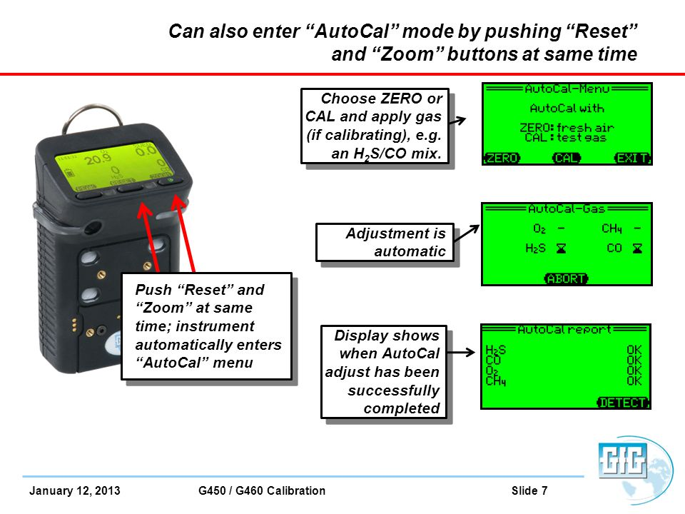 Can also enter AutoCal mode by pushing Reset and Zoom buttons at same time