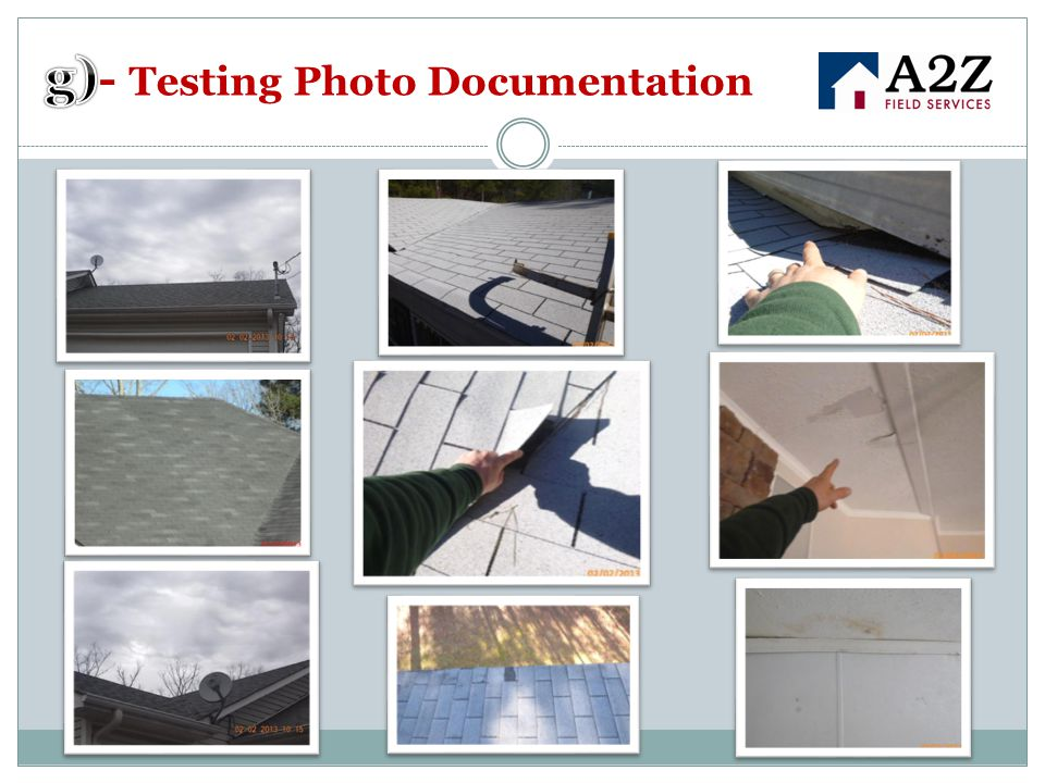 g)- Testing Photo Documentation
