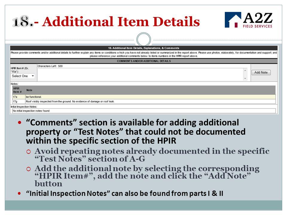 18.- Additional Item Details