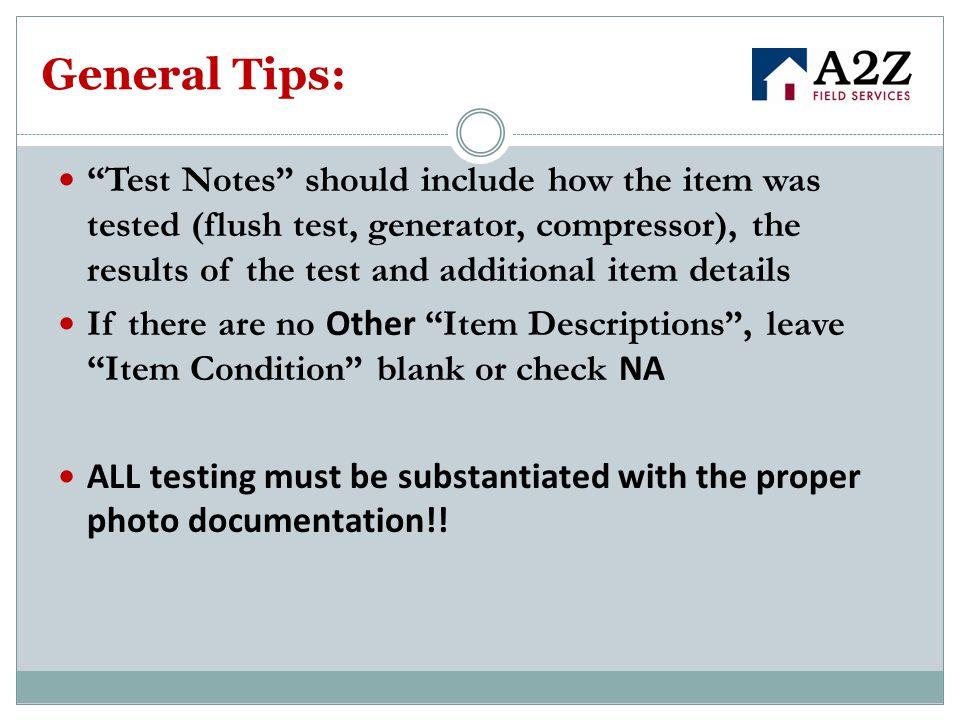 General Tips: