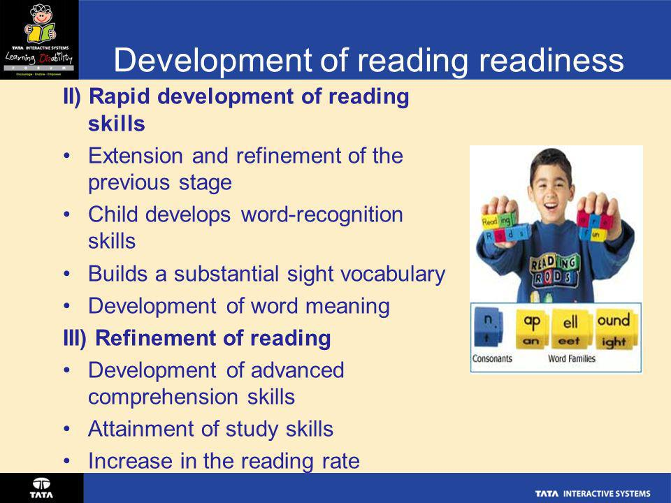 Development of reading readiness