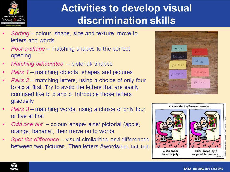 Activities to develop visual discrimination skills