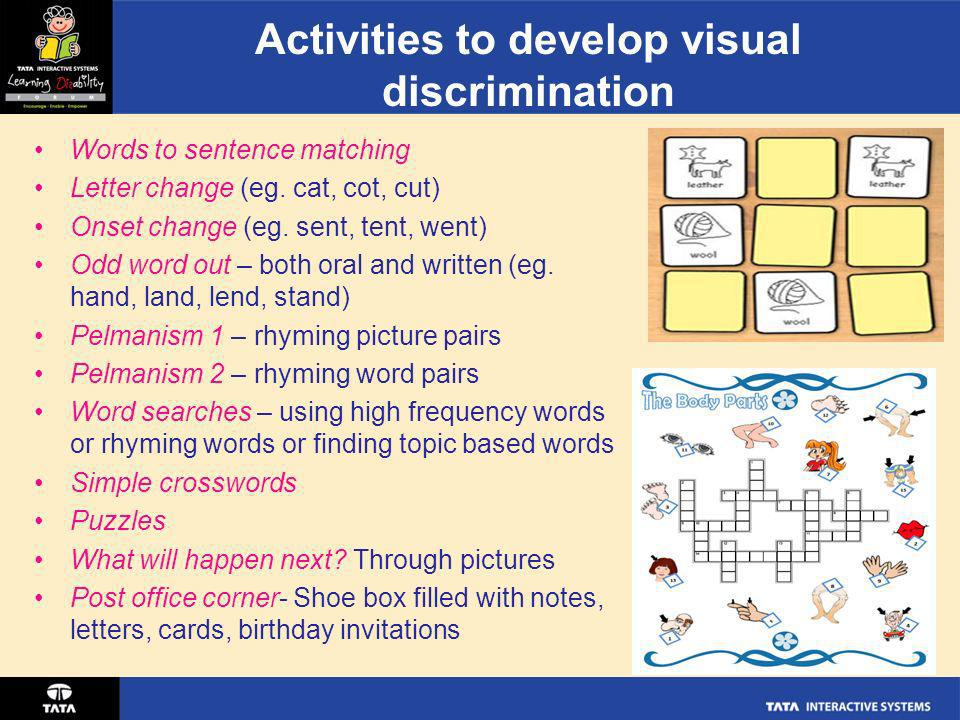 Activities to develop visual discrimination