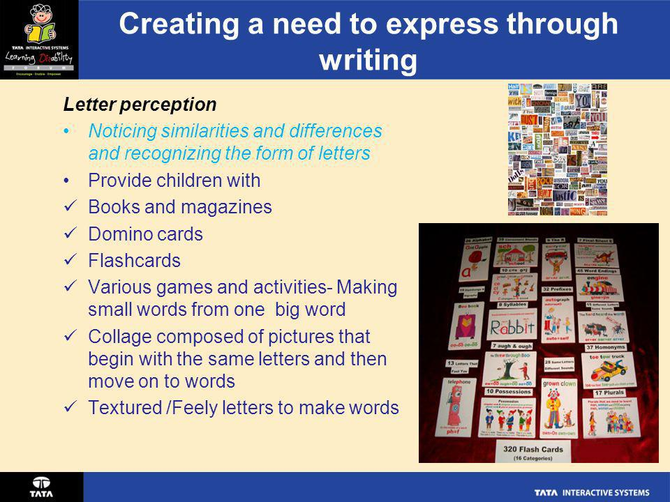 Creating a need to express through writing