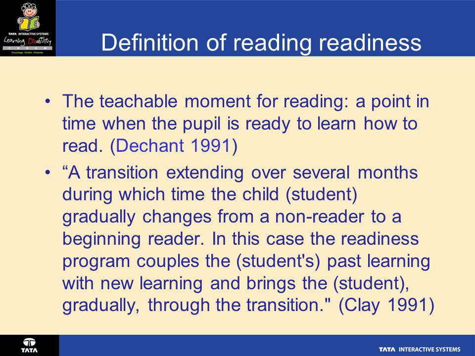 Definition of reading readiness