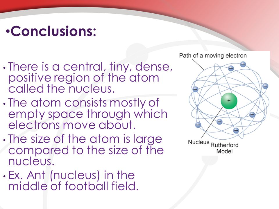 Conclusions: There is a central, tiny, dense, positive region of the atom called the nucleus.