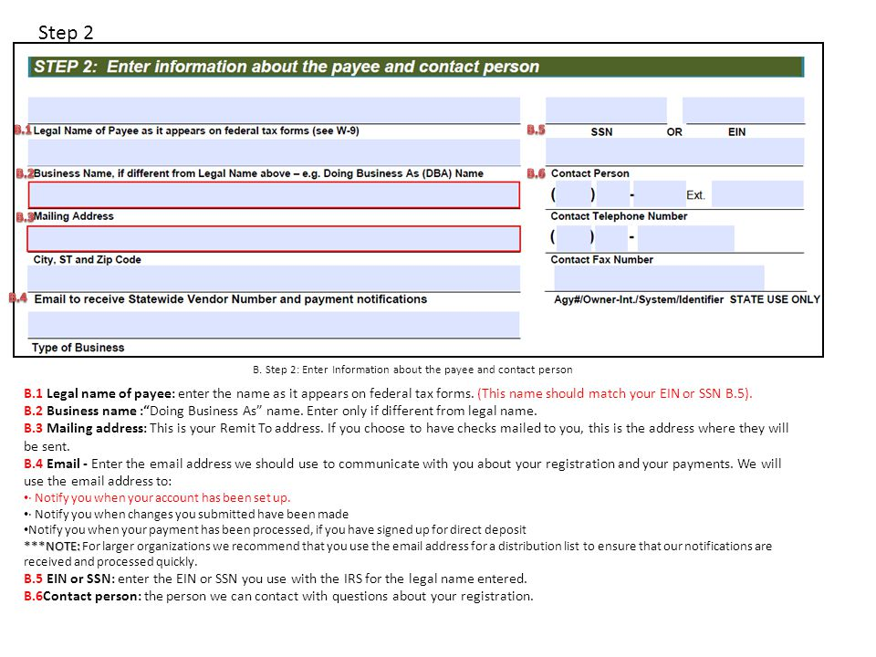 B. Step 2: Enter Information about the payee and contact person