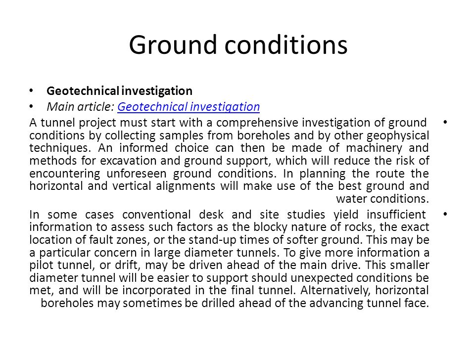 Ground conditions Geotechnical investigation