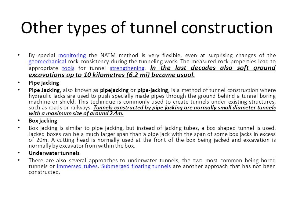 Other types of tunnel construction