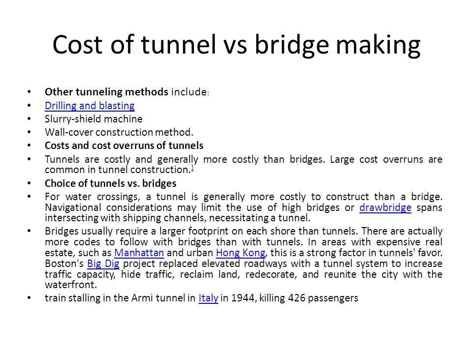 Cost of tunnel vs bridge making