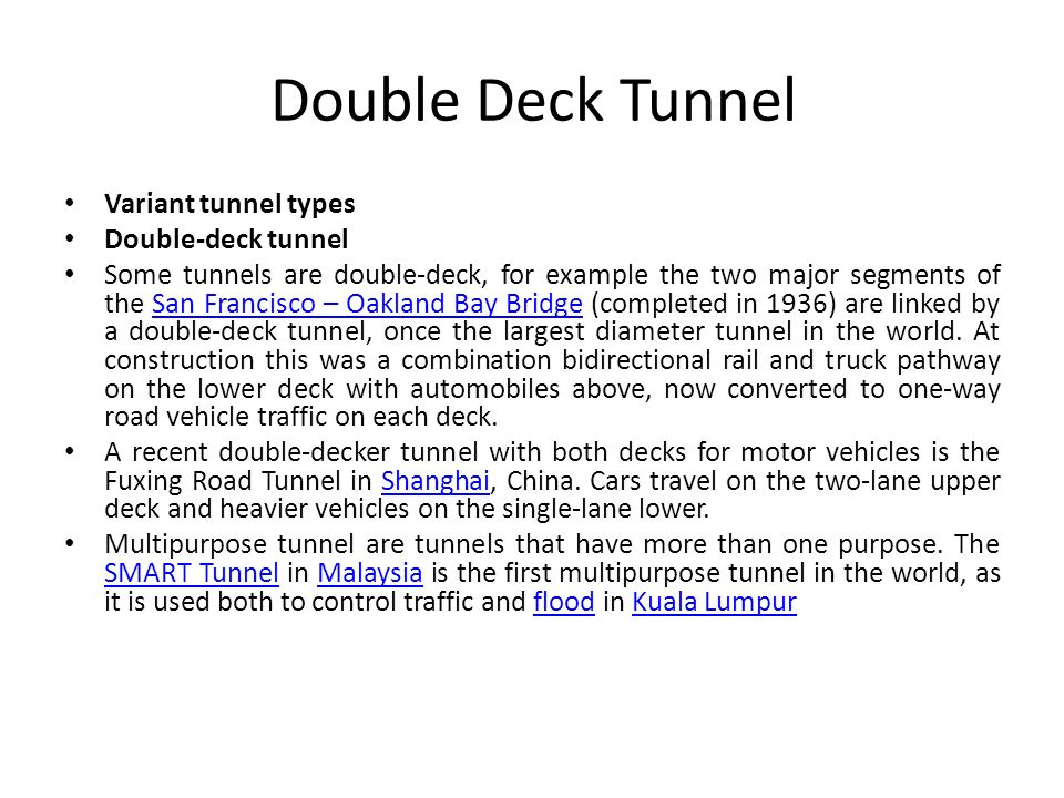 Double Deck Tunnel Variant tunnel types Double-deck tunnel