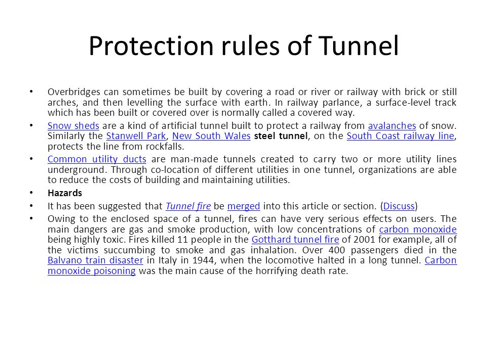 Protection rules of Tunnel