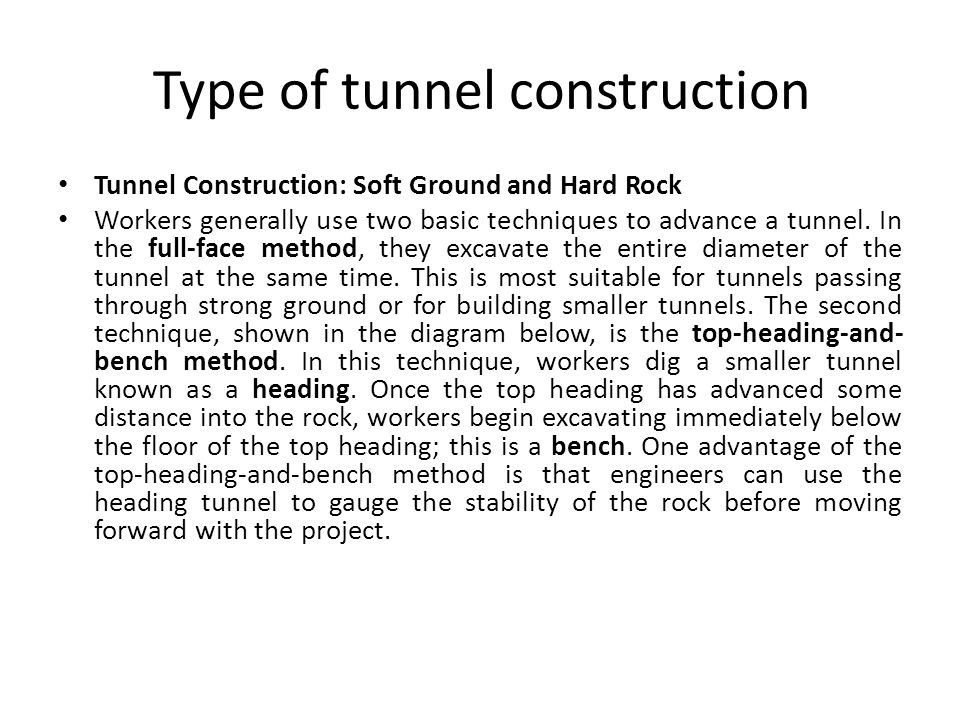 Type of tunnel construction