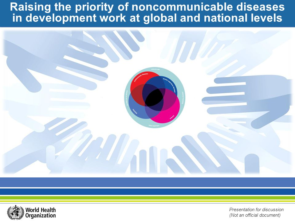Raising the priority of noncommunicable diseases in development work at global and national levels