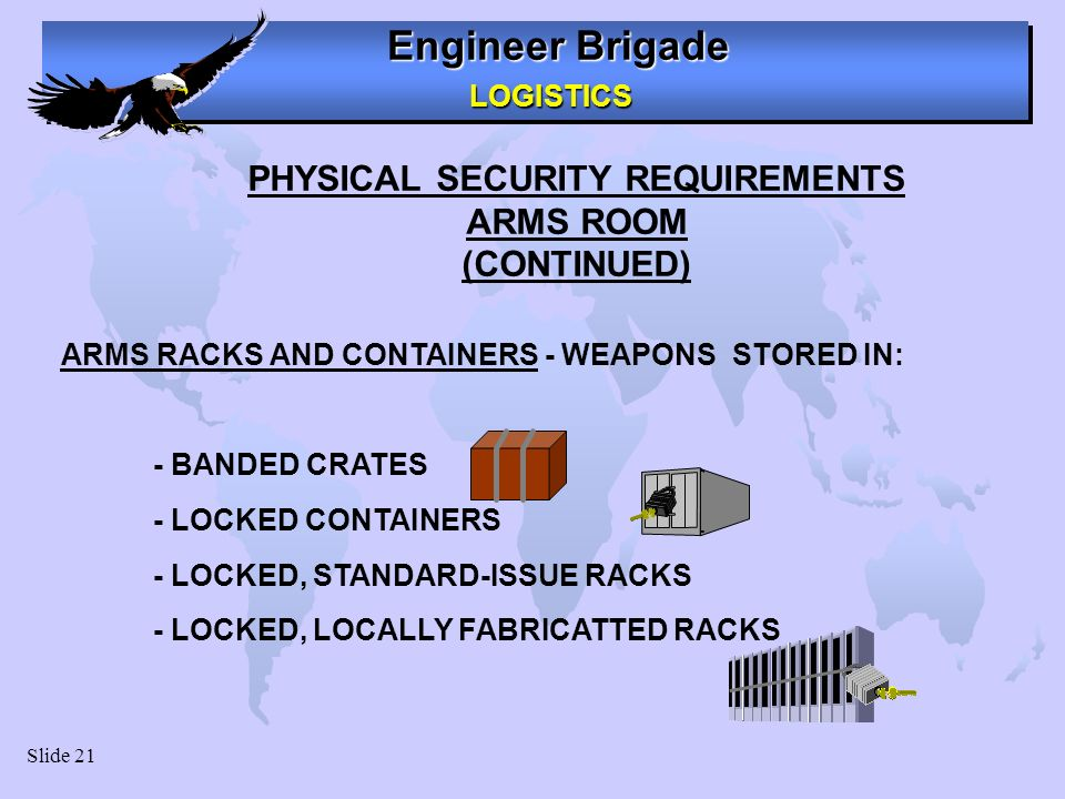 PHYSICAL SECURITY REQUIREMENTS Arms Racks and Storage Containers