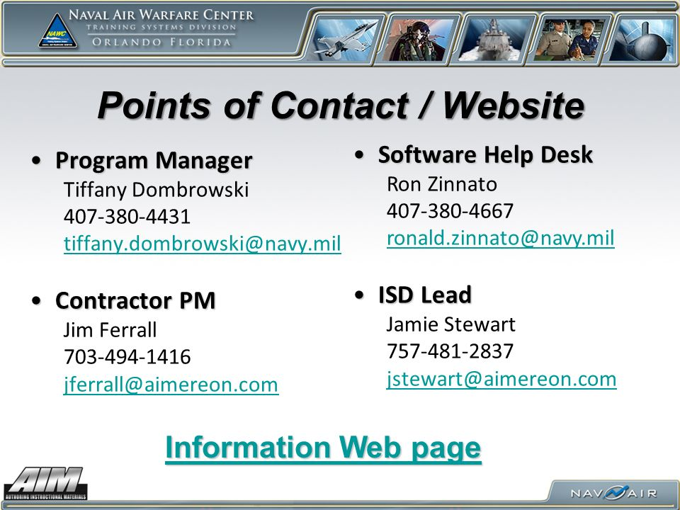 Points of Contact / Website