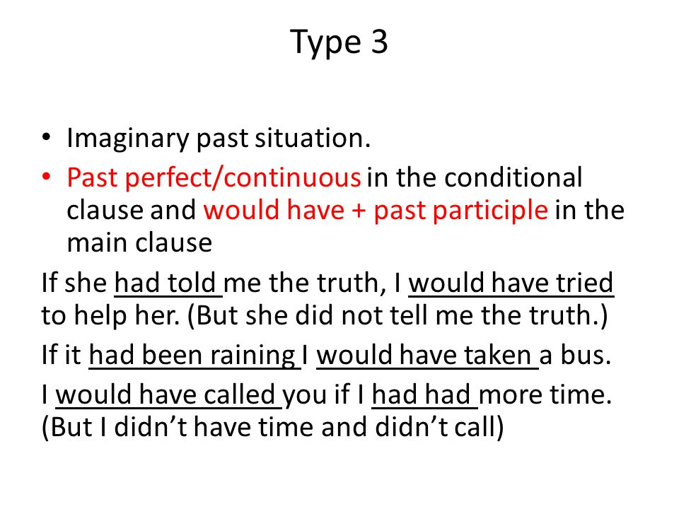 Type 3 Imaginary past situation.