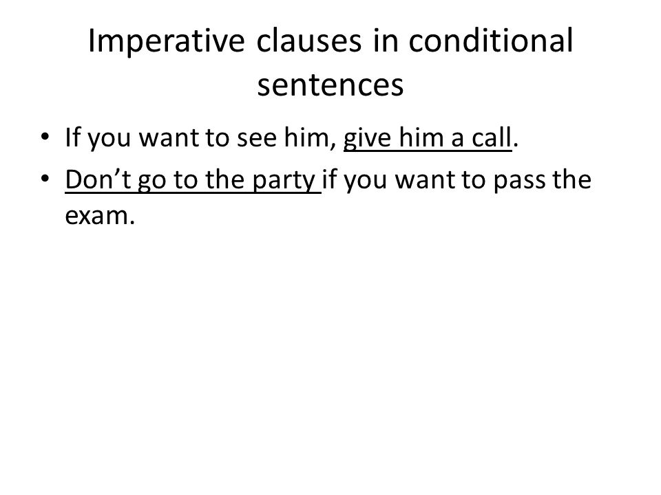 Imperative clauses in conditional sentences