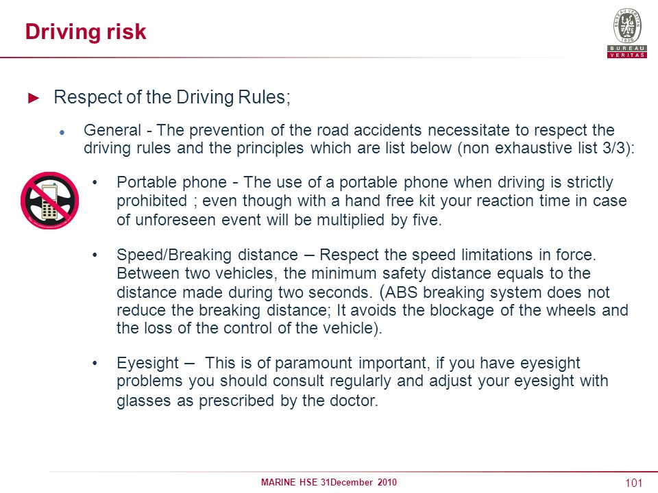 Driving risk Respect of the Driving Rules;