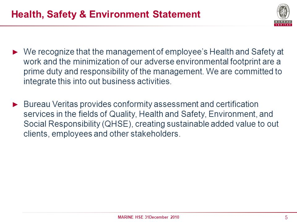 Health, Safety & Environment Statement