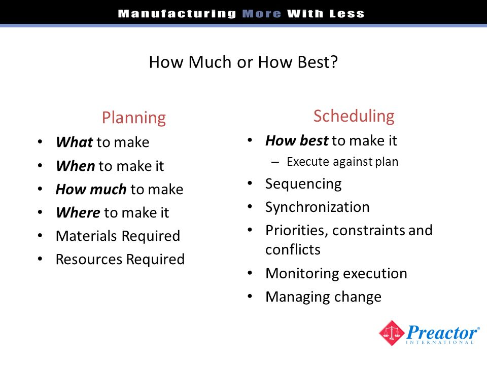 How Much or How Best Planning Scheduling How best to make it