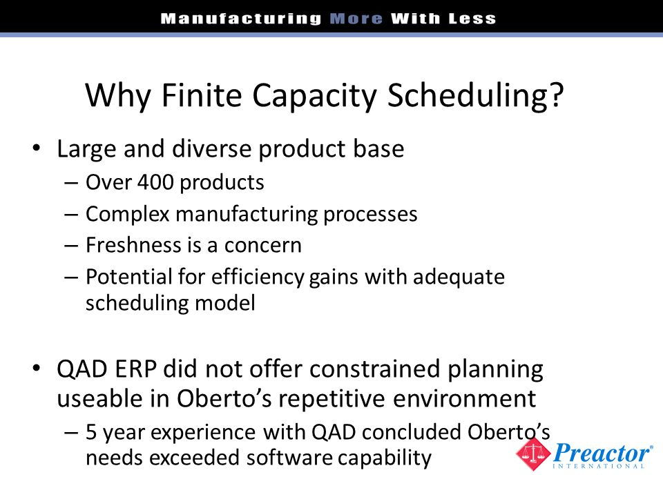 Why Finite Capacity Scheduling