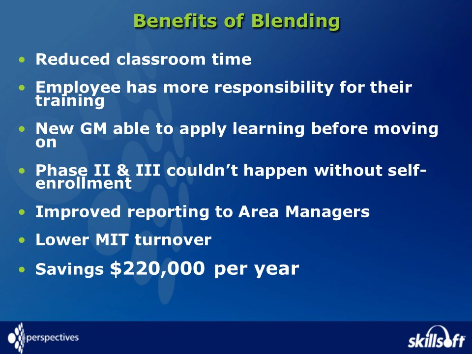 Benefits of Blending Reduced classroom time