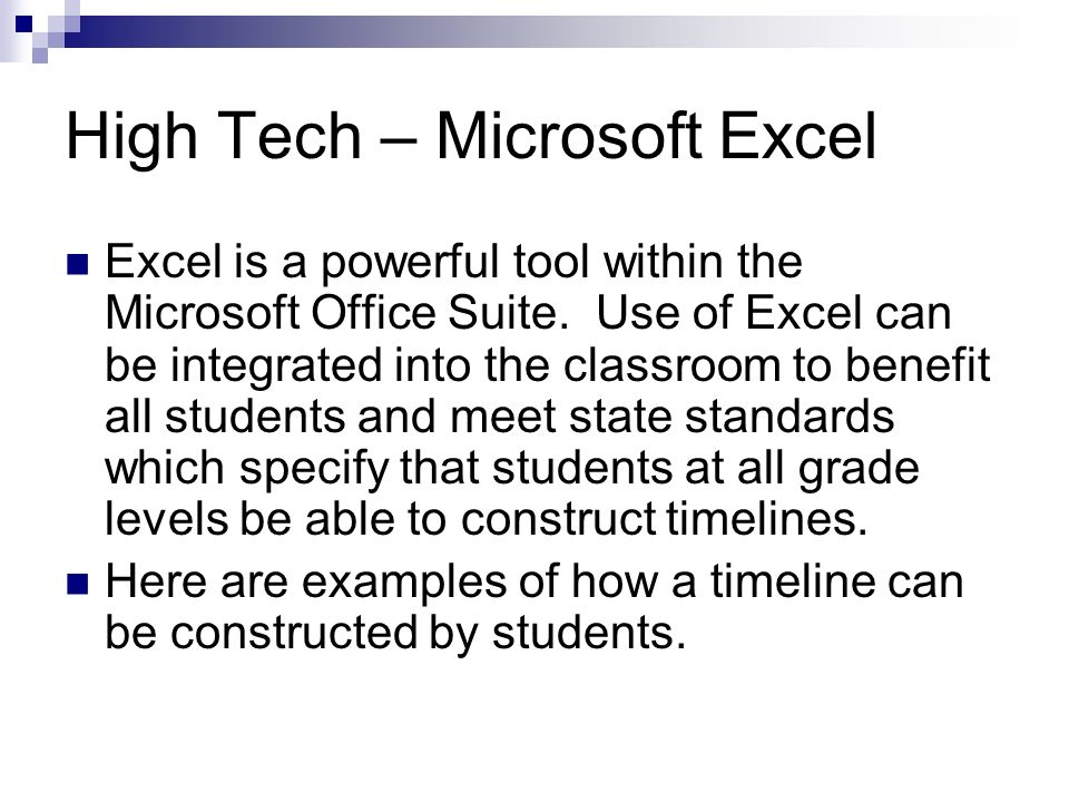 High Tech – Microsoft Excel