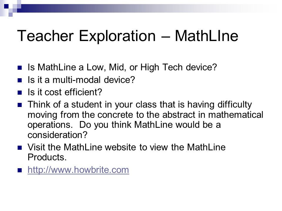 Teacher Exploration – MathLIne