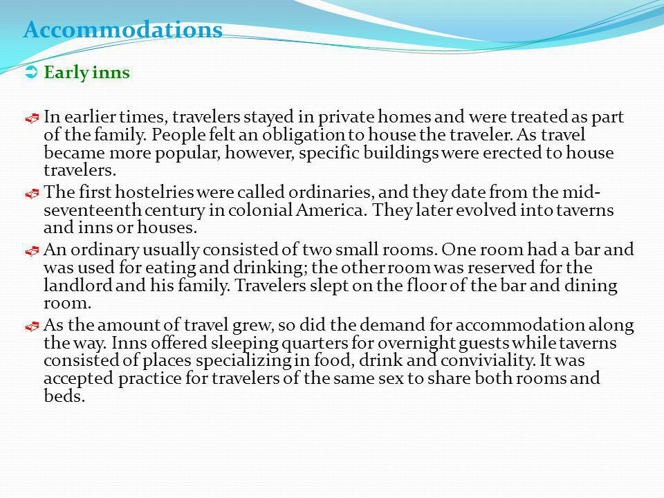 Accommodations Early inns