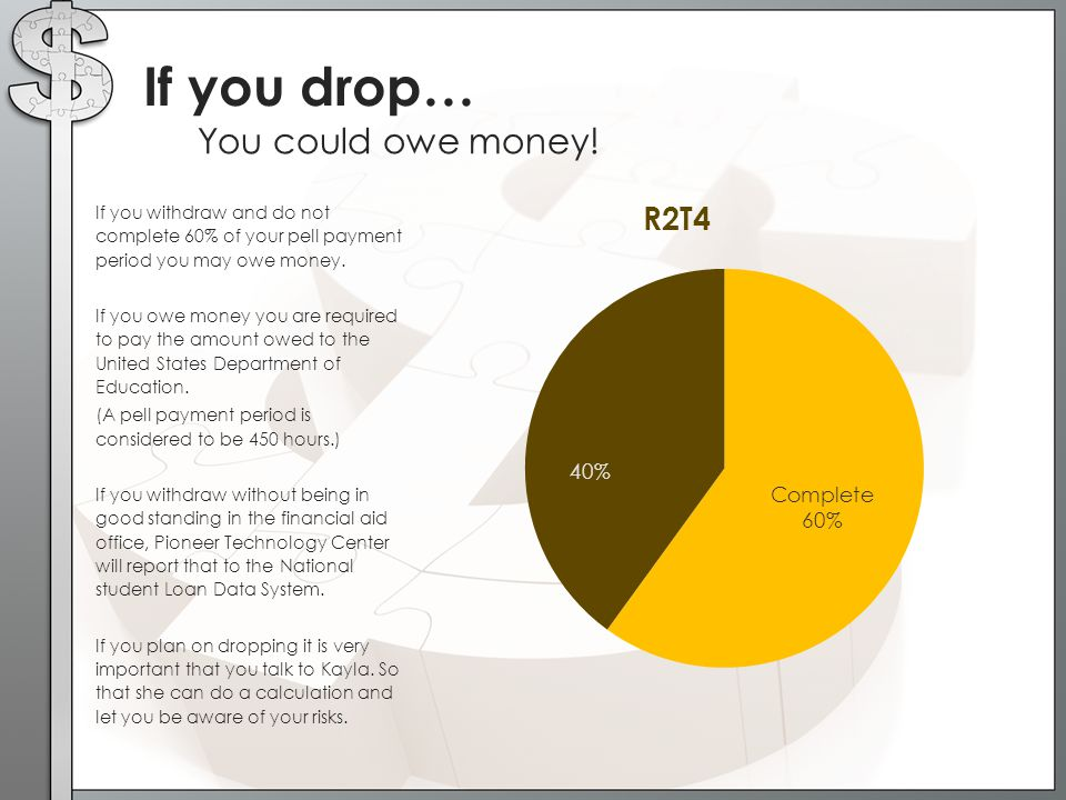 If you drop… You could owe money!