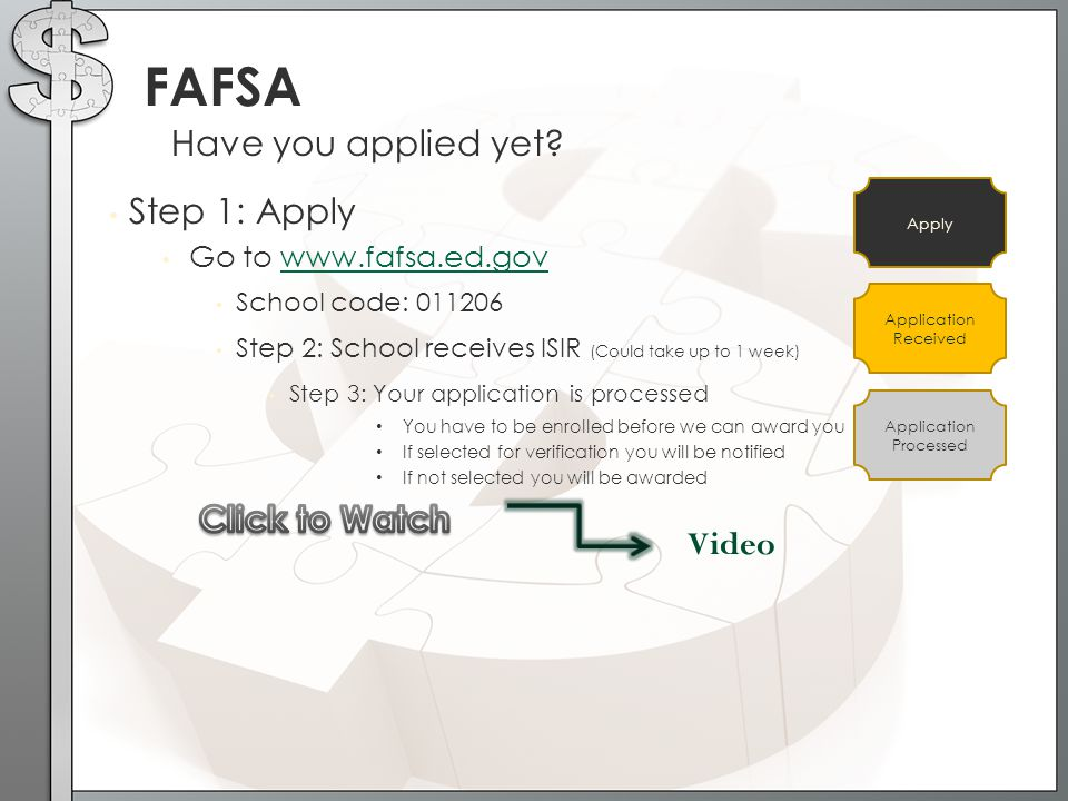 FAFSA Have you applied yet Step 1: Apply Click to Watch Video