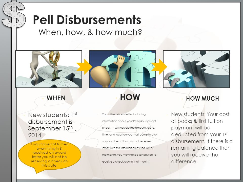 Pell Disbursements HOW When, how, & how much WHEN