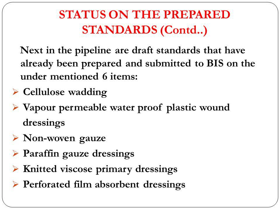 STATUS ON THE PREPARED STANDARDS (Contd..)