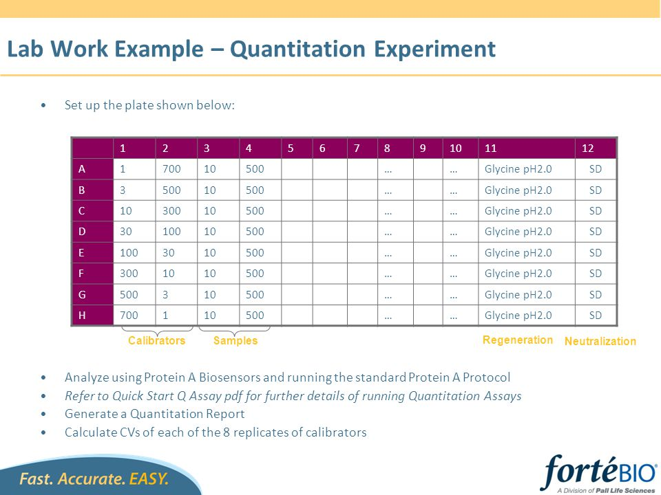 Lab Work Example – Quantitation Experiment
